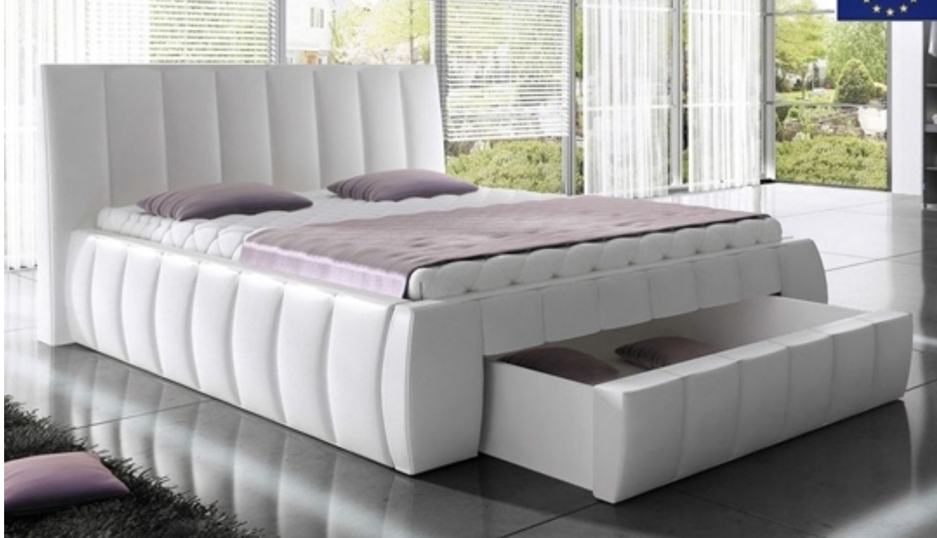 lit design capitonn blanc avec coffre de rangement milo. Black Bedroom Furniture Sets. Home Design Ideas