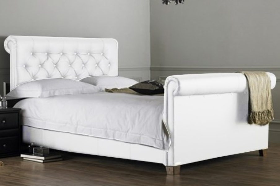 lit capitonn blanc kenta 160. Black Bedroom Furniture Sets. Home Design Ideas