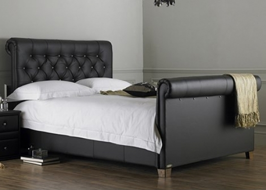 lit capitonn noir kenta 160. Black Bedroom Furniture Sets. Home Design Ideas