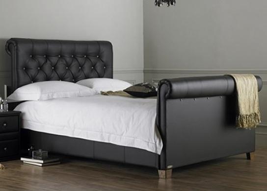 lit capitonn noir kenta 160. Black Bedroom Furniture Sets. Home Design Ideas