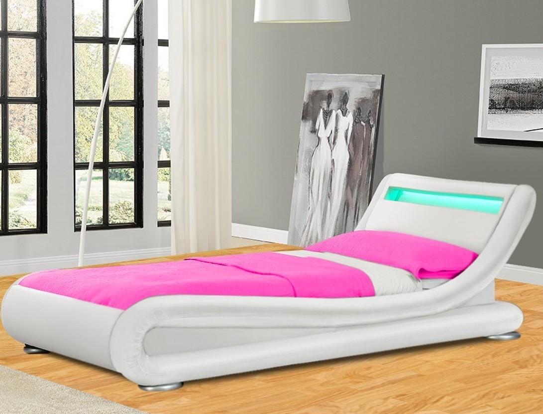 lit design simili blanc avec led zapa 90. Black Bedroom Furniture Sets. Home Design Ideas