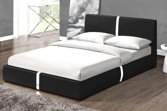 lit design noir musty 140 cm. Black Bedroom Furniture Sets. Home Design Ideas