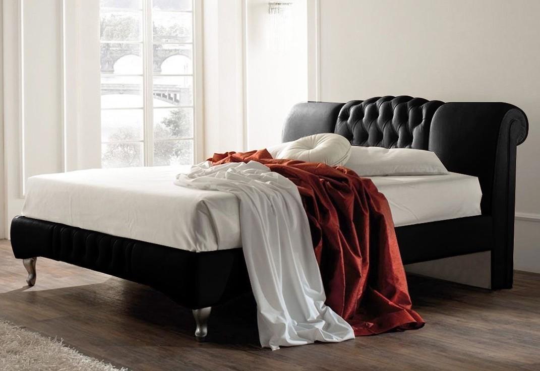 lit l gant capitonn noir venise 160. Black Bedroom Furniture Sets. Home Design Ideas