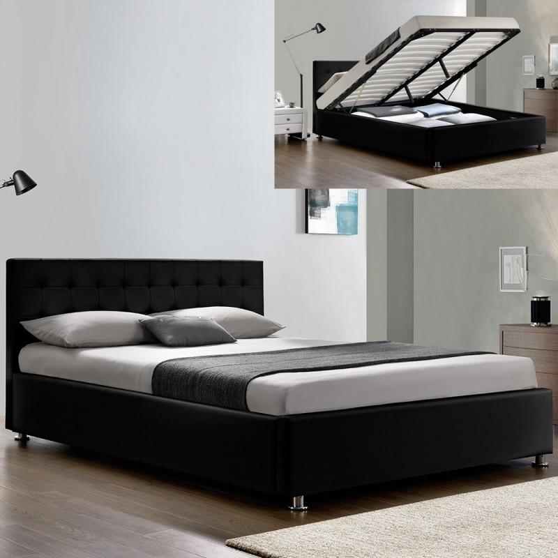 lit double coffre avec sommier relevable simili noir koby 160. Black Bedroom Furniture Sets. Home Design Ideas