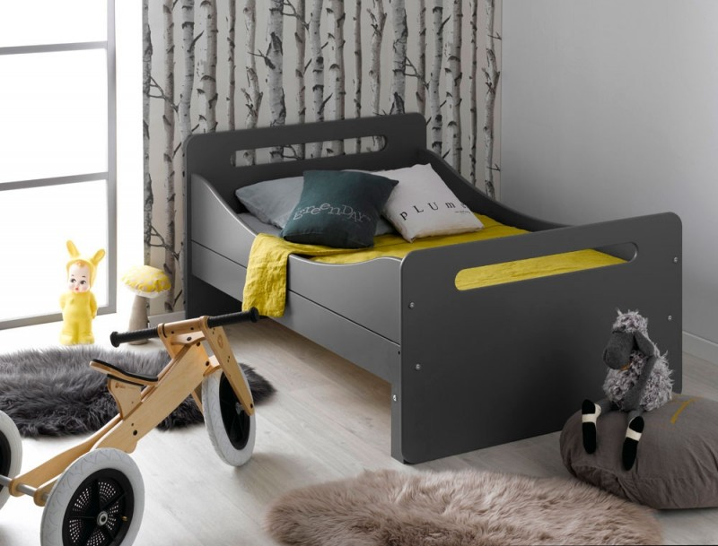 lit volutif gris fonc solly 90x140 190 cm. Black Bedroom Furniture Sets. Home Design Ideas