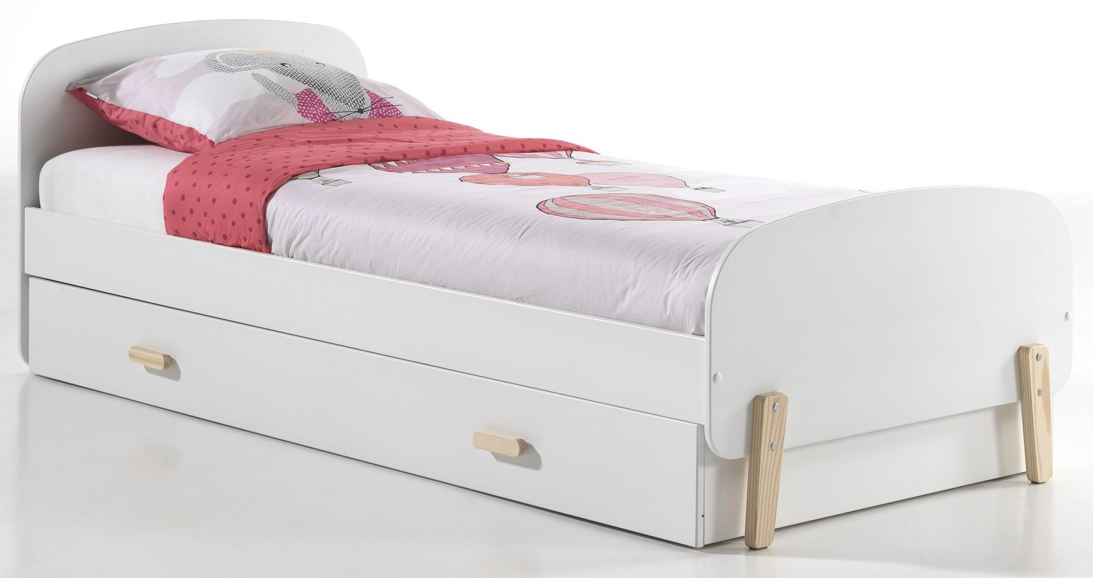 lit gigogne bois blanc scandinave 90. Black Bedroom Furniture Sets. Home Design Ideas