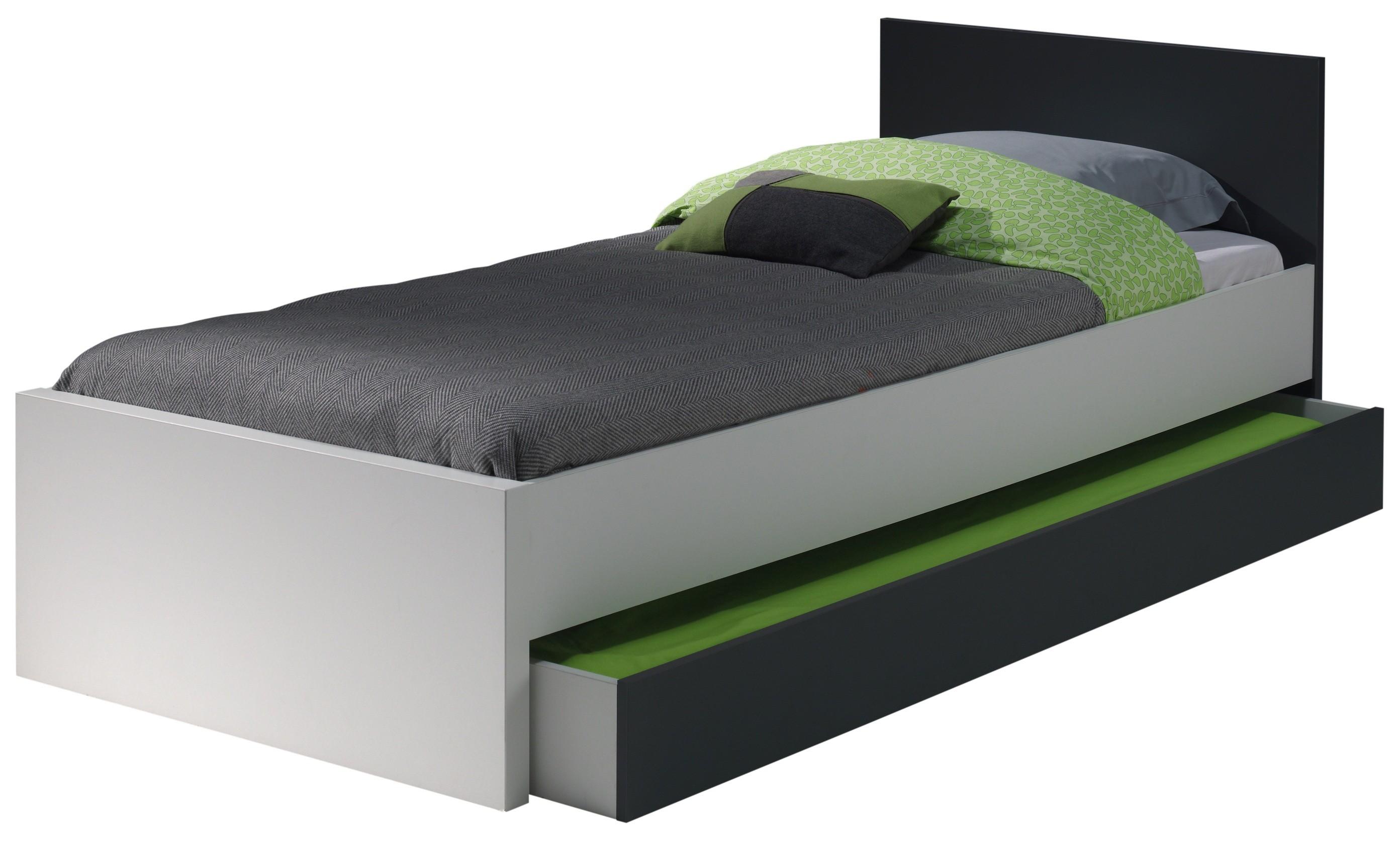 lit gigogne bois blanc et gris kuzo 90. Black Bedroom Furniture Sets. Home Design Ideas