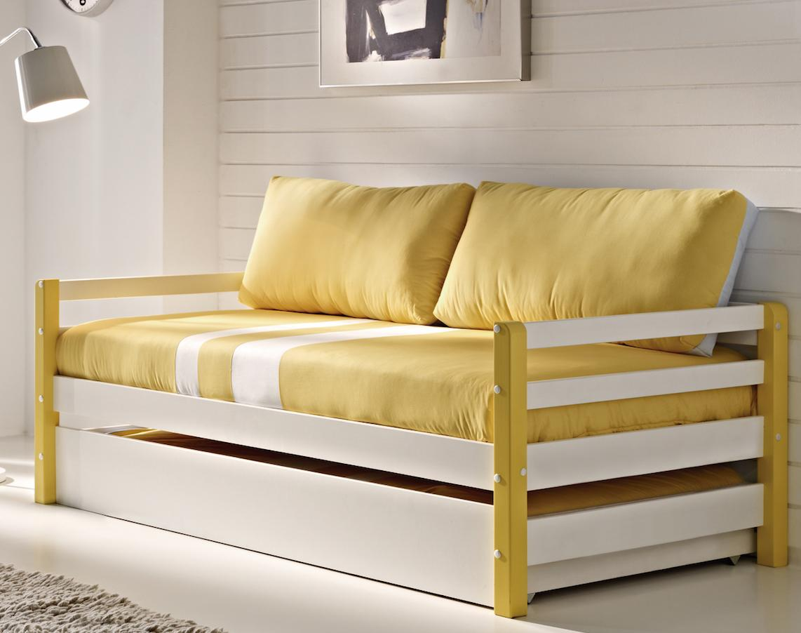 lit gigogne pin massif blanc et jaune space. Black Bedroom Furniture Sets. Home Design Ideas