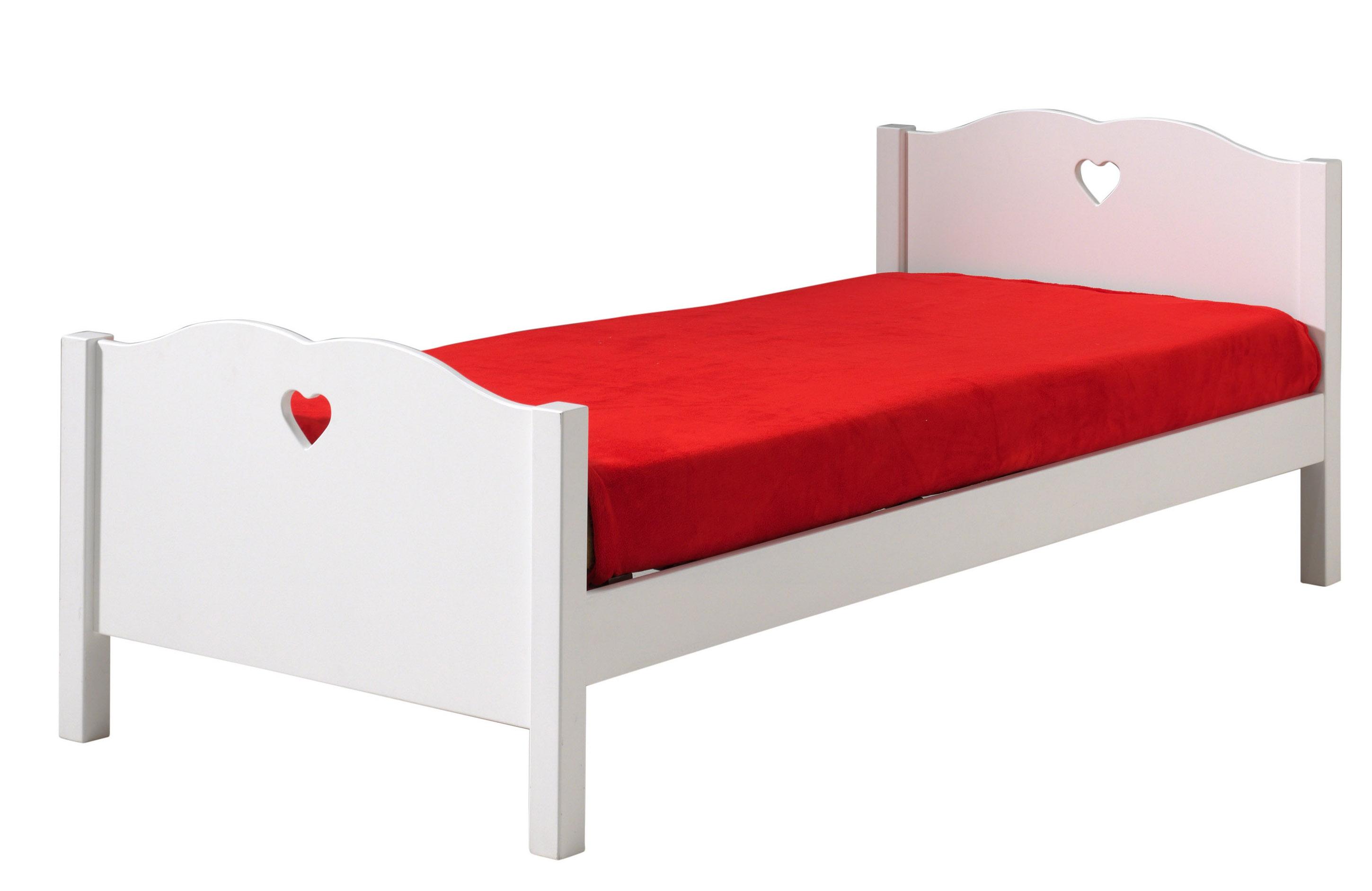 lit laqu blanc coeur. Black Bedroom Furniture Sets. Home Design Ideas