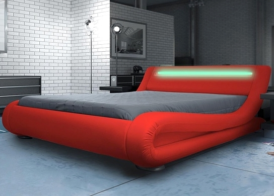 Lit Design Simili Rouge Avec Led Zapa LesTendancesfr - Lit adulte rouge