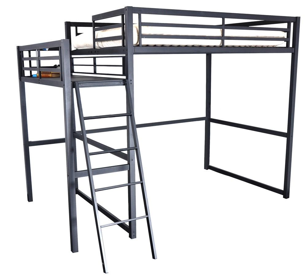 lit mezzanine 2 places m tal noir 140 ultramat. Black Bedroom Furniture Sets. Home Design Ideas