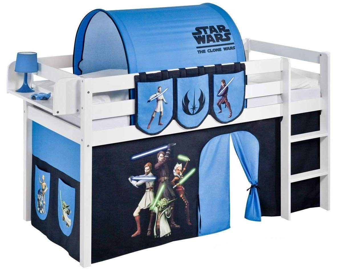 lit mezzanine blanc avec rideau star wars 90x190 cm. Black Bedroom Furniture Sets. Home Design Ideas