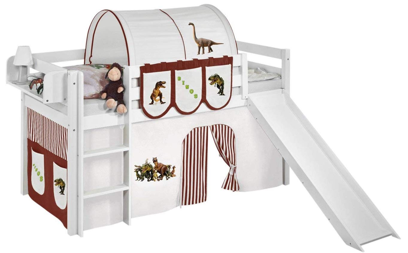 lit mezzanine blanc avec toboggan et rideau dinosaures. Black Bedroom Furniture Sets. Home Design Ideas
