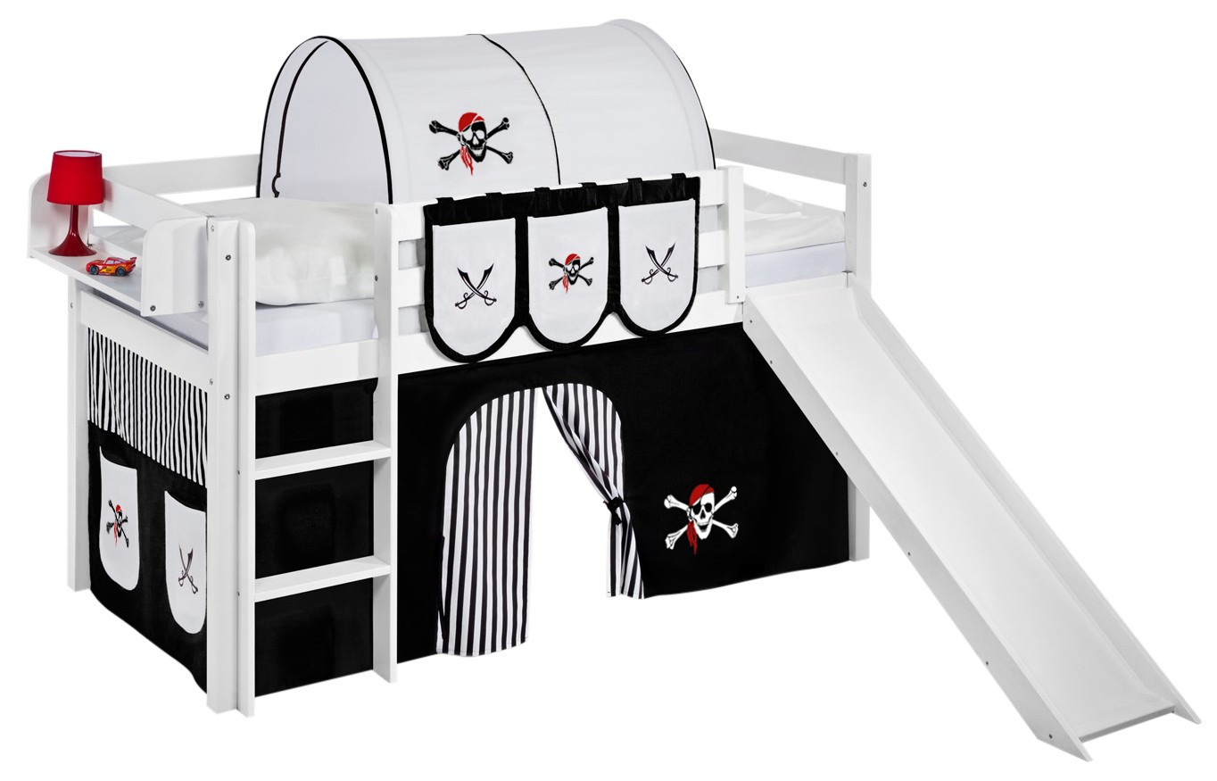 lit mezzanine blanc avec toboggan et rideau noir pirate. Black Bedroom Furniture Sets. Home Design Ideas