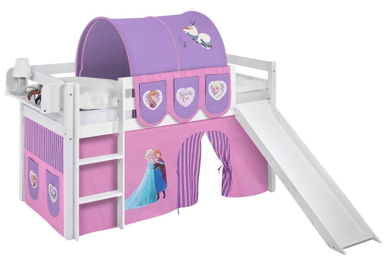 lit mezzanine blanc avec toboggan et rideau rose clair disney reine des neiges 90x190 cm sommier. Black Bedroom Furniture Sets. Home Design Ideas