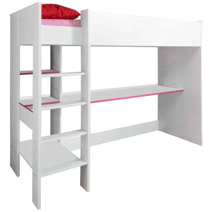 lit mezzanine blanc et rose suzy 90. Black Bedroom Furniture Sets. Home Design Ideas