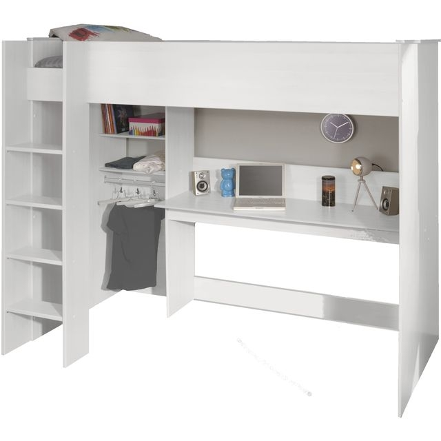 lit mezzanine blanc wina 90. Black Bedroom Furniture Sets. Home Design Ideas