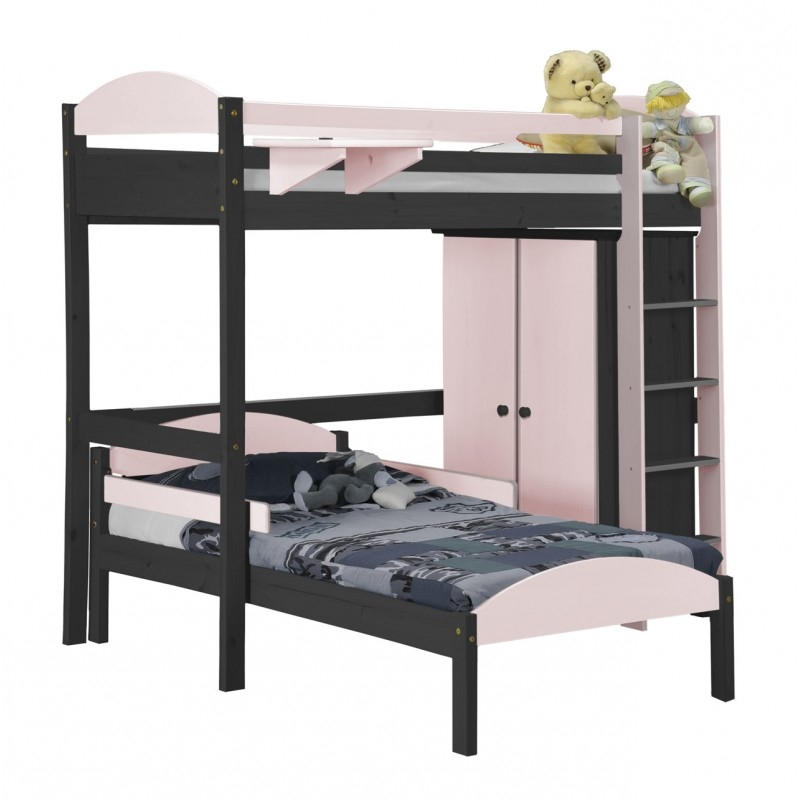 lit mezzanine en l et placard tal boy pin gris et rose aladin. Black Bedroom Furniture Sets. Home Design Ideas