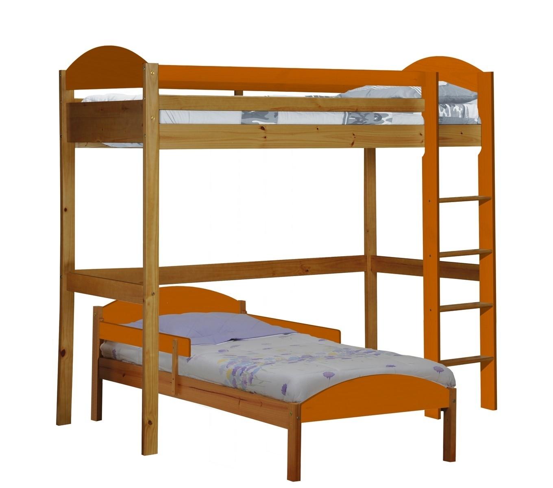 lit mezzanine en l pin miel et orange aladin. Black Bedroom Furniture Sets. Home Design Ideas