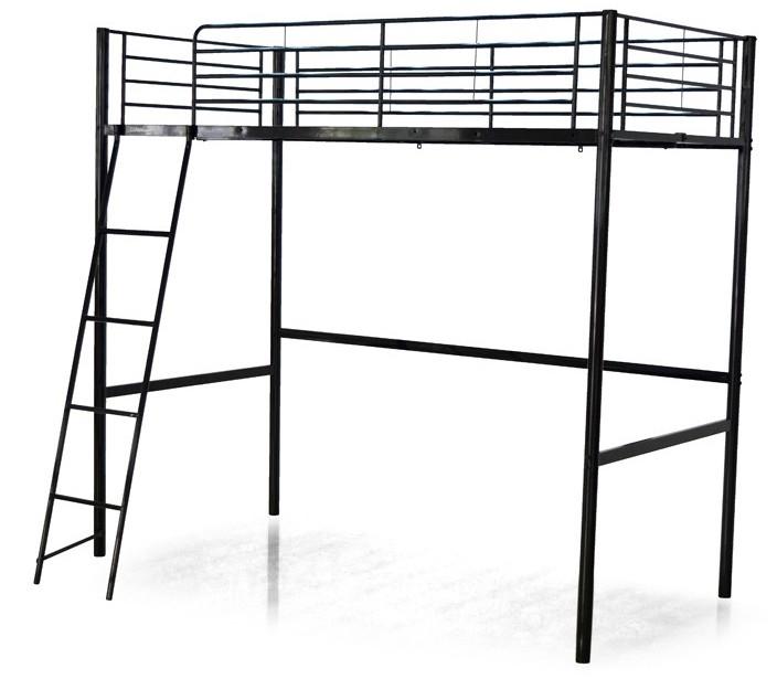 lit mezzanine m tal noir grafik 140. Black Bedroom Furniture Sets. Home Design Ideas