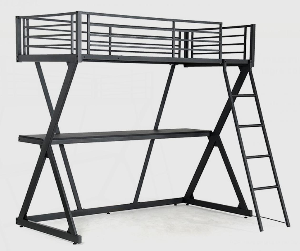 lit mezzanine noir avec bureau millenium 90. Black Bedroom Furniture Sets. Home Design Ideas