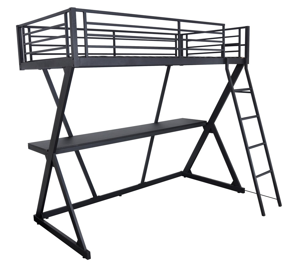 lit mezzanine noir 90 avec bureau millenium. Black Bedroom Furniture Sets. Home Design Ideas