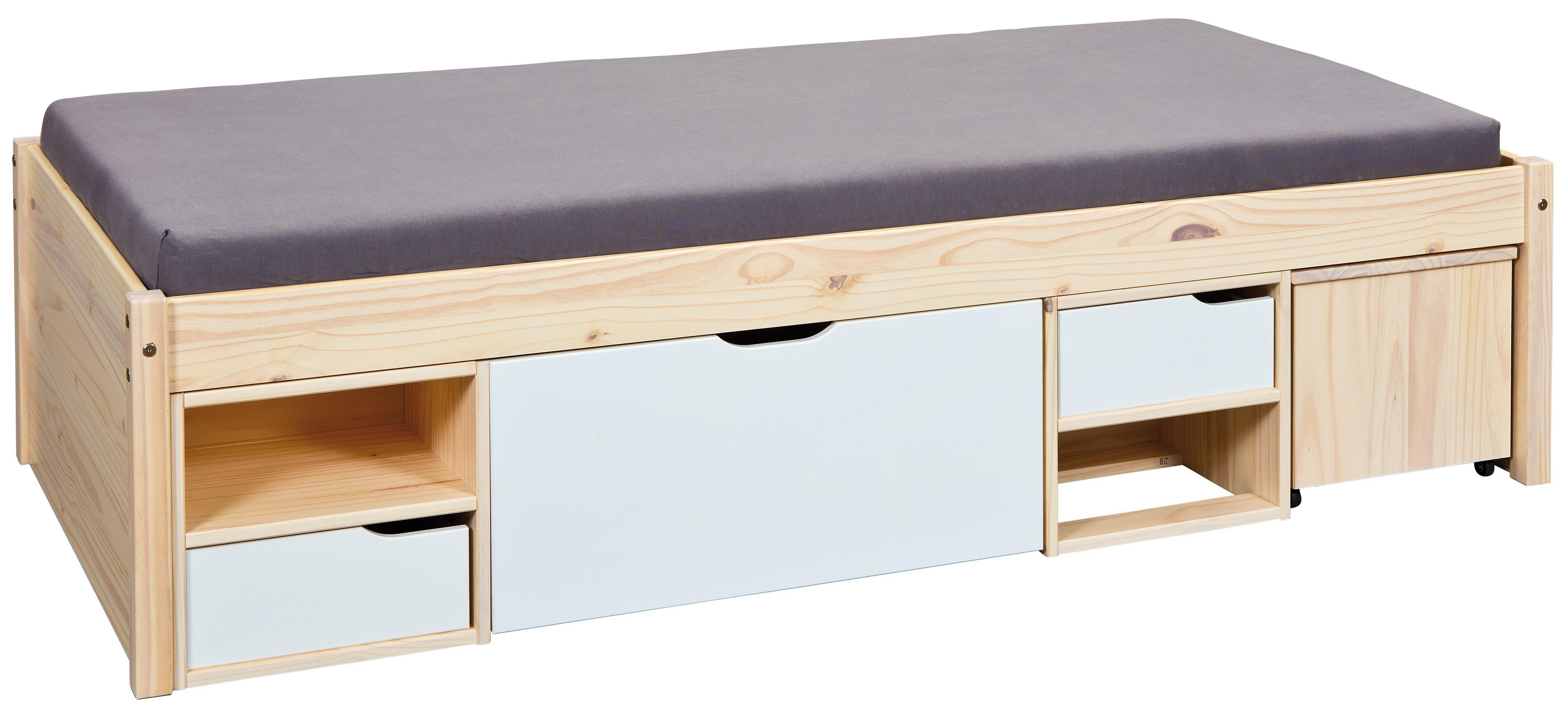 lit multi rangement pin massif naturel et blanc jam 90. Black Bedroom Furniture Sets. Home Design Ideas