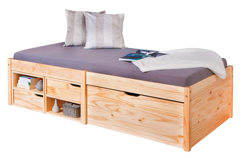 lit multi rangements pin massif naturel dada 90. Black Bedroom Furniture Sets. Home Design Ideas