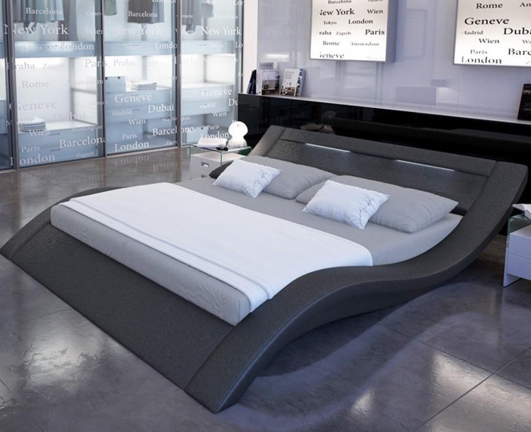 Lit design simili noir avec led vague 140 - Chambre avec lit noir ...