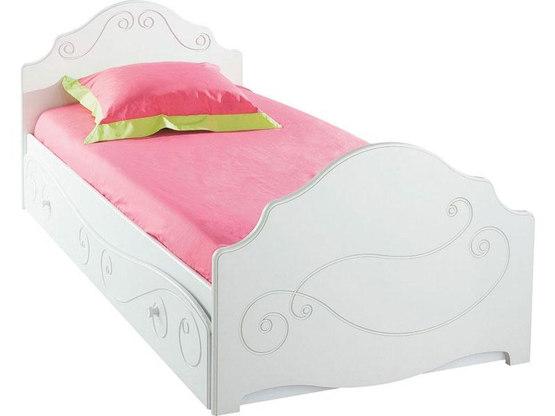 lit pour fille tiroir blanc alicia 90 couchage 90 x 190 cm lestendancesfr - Lit Enfant Fille