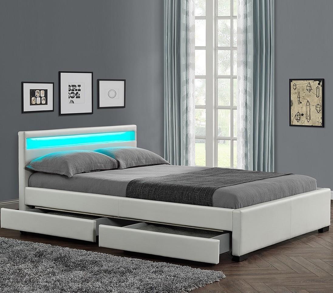 lit moderne 4 tiroirs simili blanc led sona 140. Black Bedroom Furniture Sets. Home Design Ideas