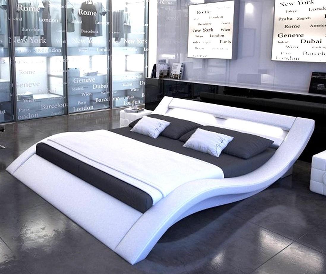lit design simili blanc avec led vague 160. Black Bedroom Furniture Sets. Home Design Ideas