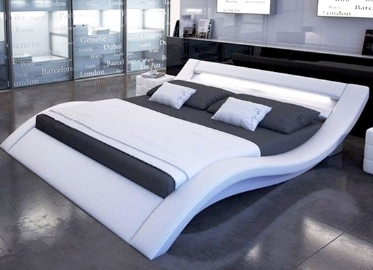 Lit simili cuir blanc avec rampe leds 160 - Lit simili cuir blanc ...
