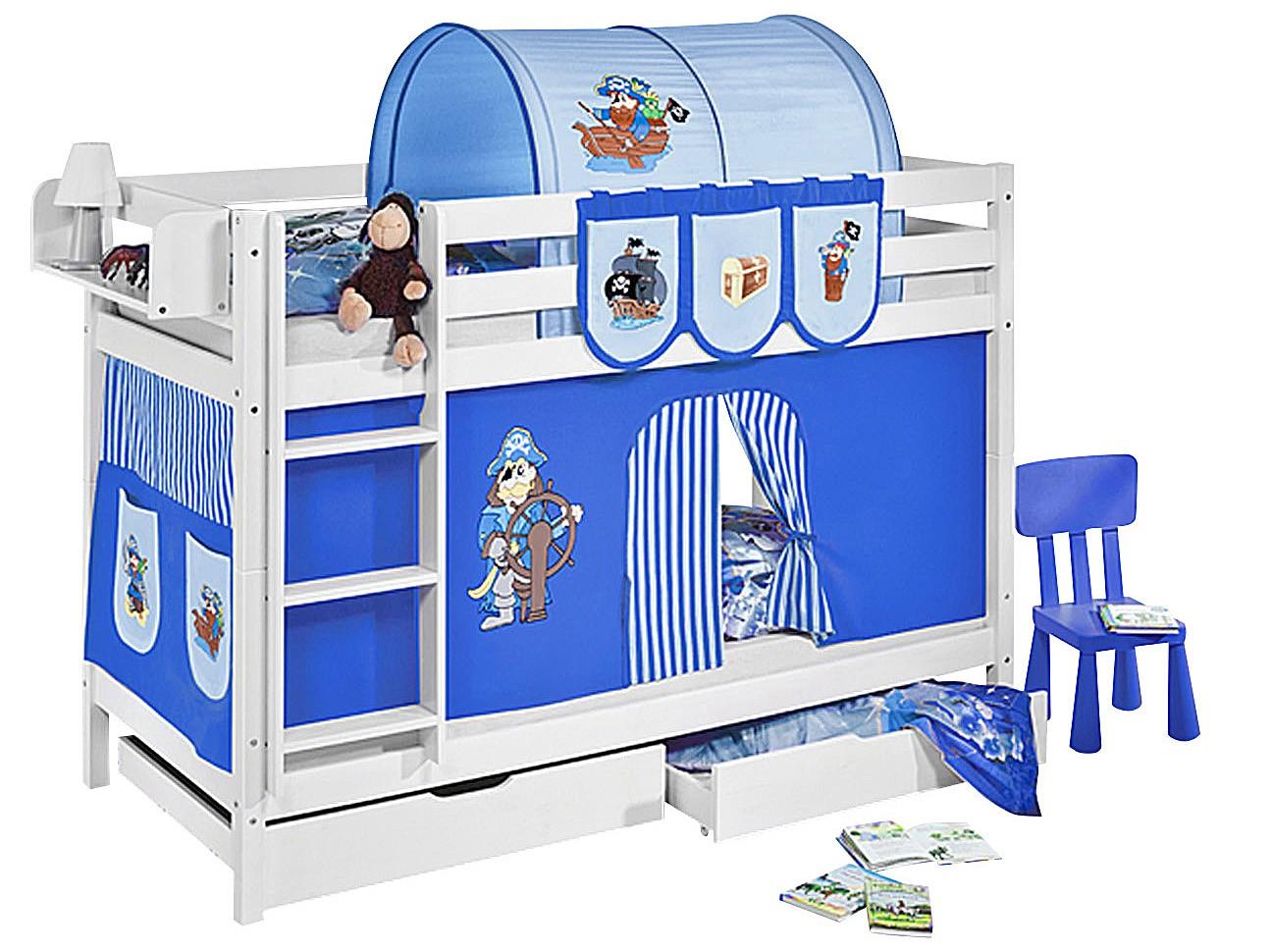 lit superposable blanc et rideau bleu pirate 90x190 cm. Black Bedroom Furniture Sets. Home Design Ideas