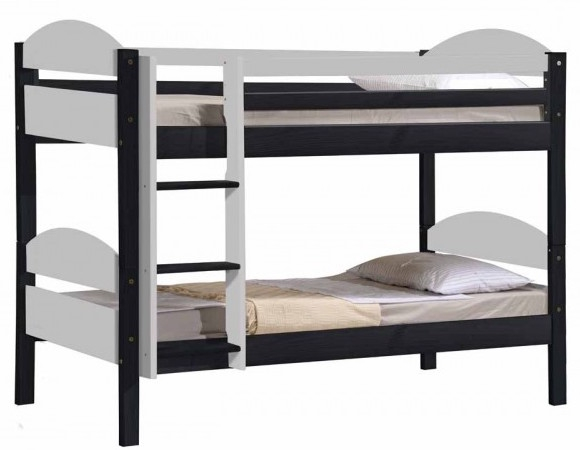 lit superpos 90 x 190 cm gris et blanc maxim. Black Bedroom Furniture Sets. Home Design Ideas