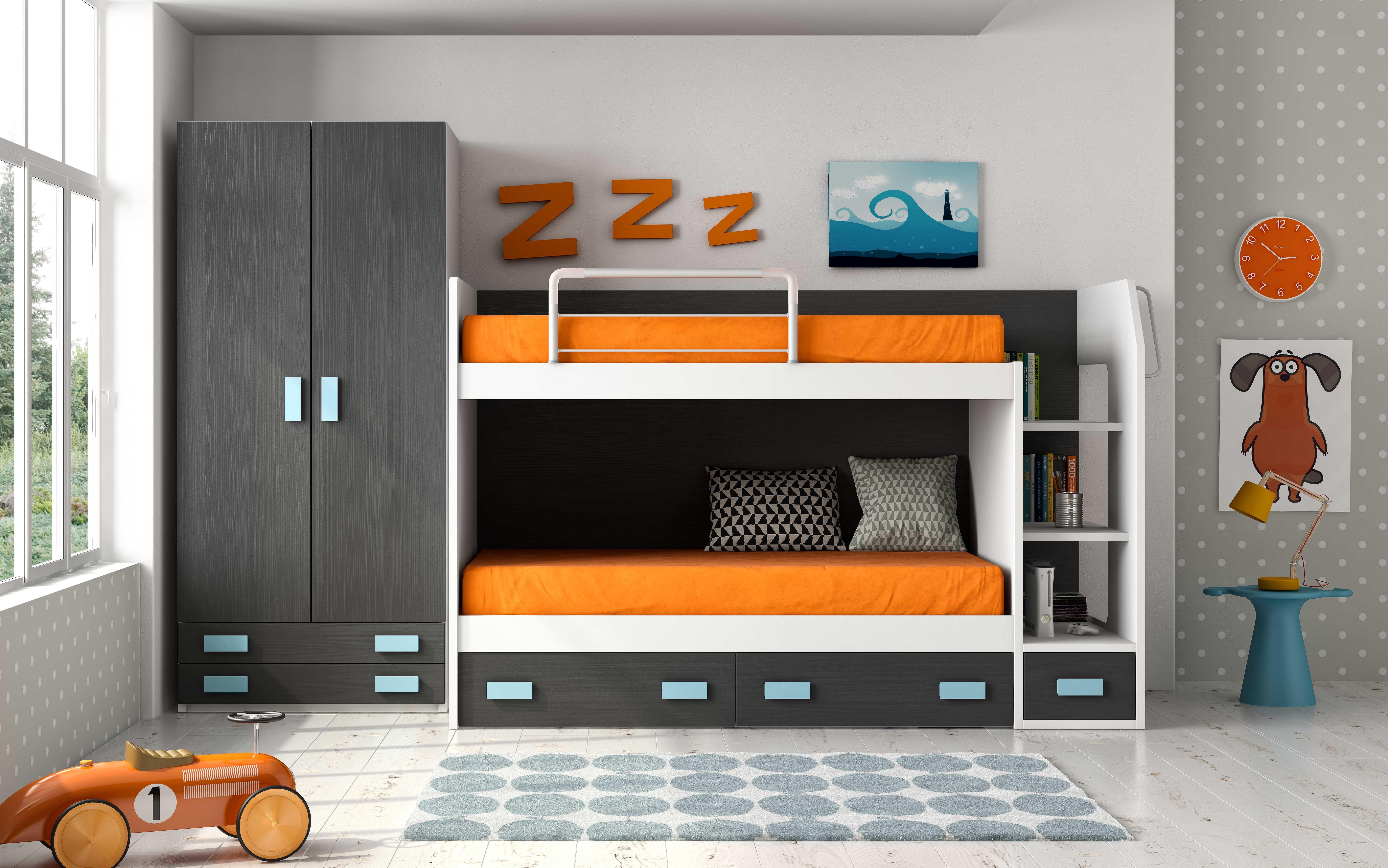 lit superpos avec rangement bi couleur maxo 90x190 cm. Black Bedroom Furniture Sets. Home Design Ideas