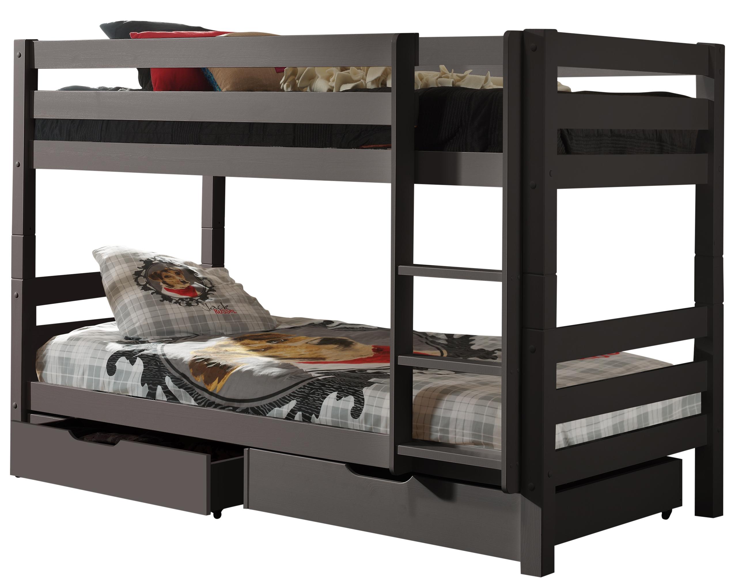 lit superpos avec tiroir pin massif taupe pinie h 140. Black Bedroom Furniture Sets. Home Design Ideas