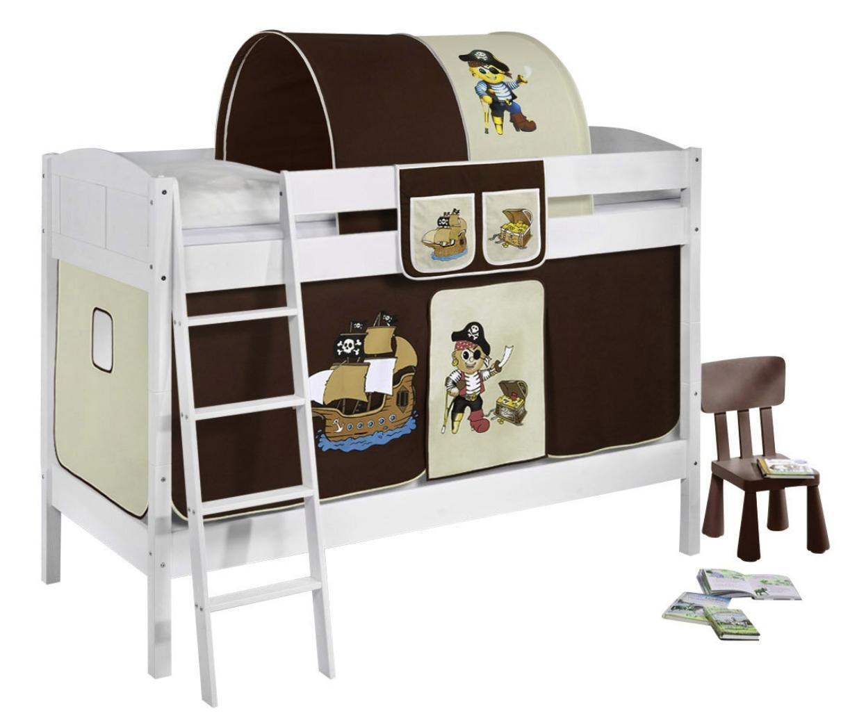lit superpos blanc laqu et rideau pirate marron 90x200 cm sans matelas tunnel sans tunnel. Black Bedroom Furniture Sets. Home Design Ideas