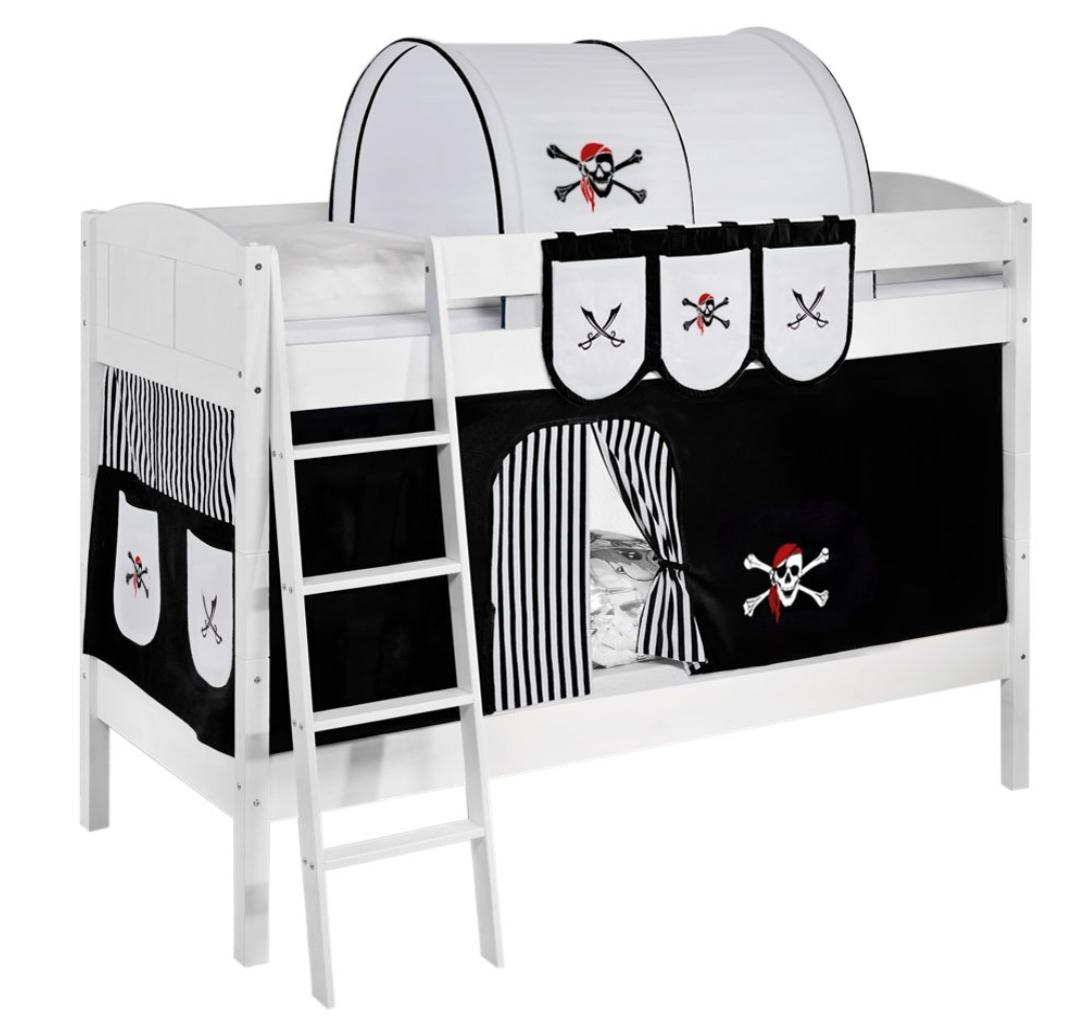 Lit superpos blanc laqu et rideau pirate noir 90x200 cm for Rideau pirate chambre
