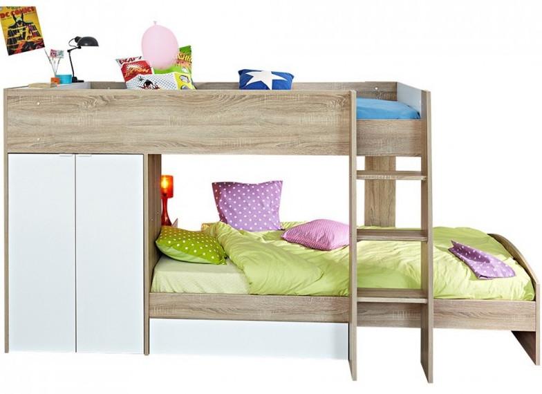 lit superpos ch ne brut et blanc slim 90. Black Bedroom Furniture Sets. Home Design Ideas