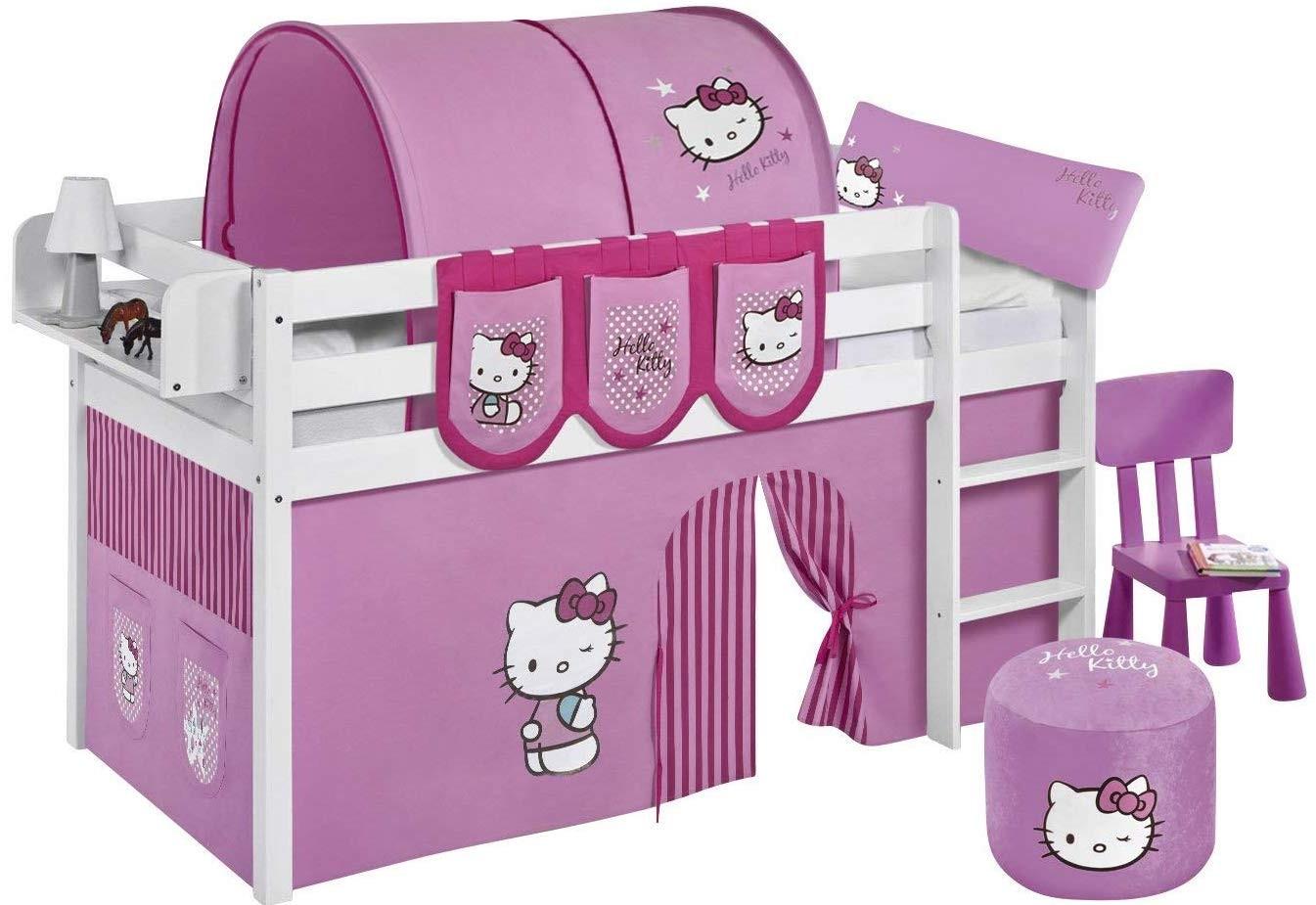 lit sur lev blanc laqu rideau hello kitty rose 90x190cm sommier sans sommier sans matelas. Black Bedroom Furniture Sets. Home Design Ideas