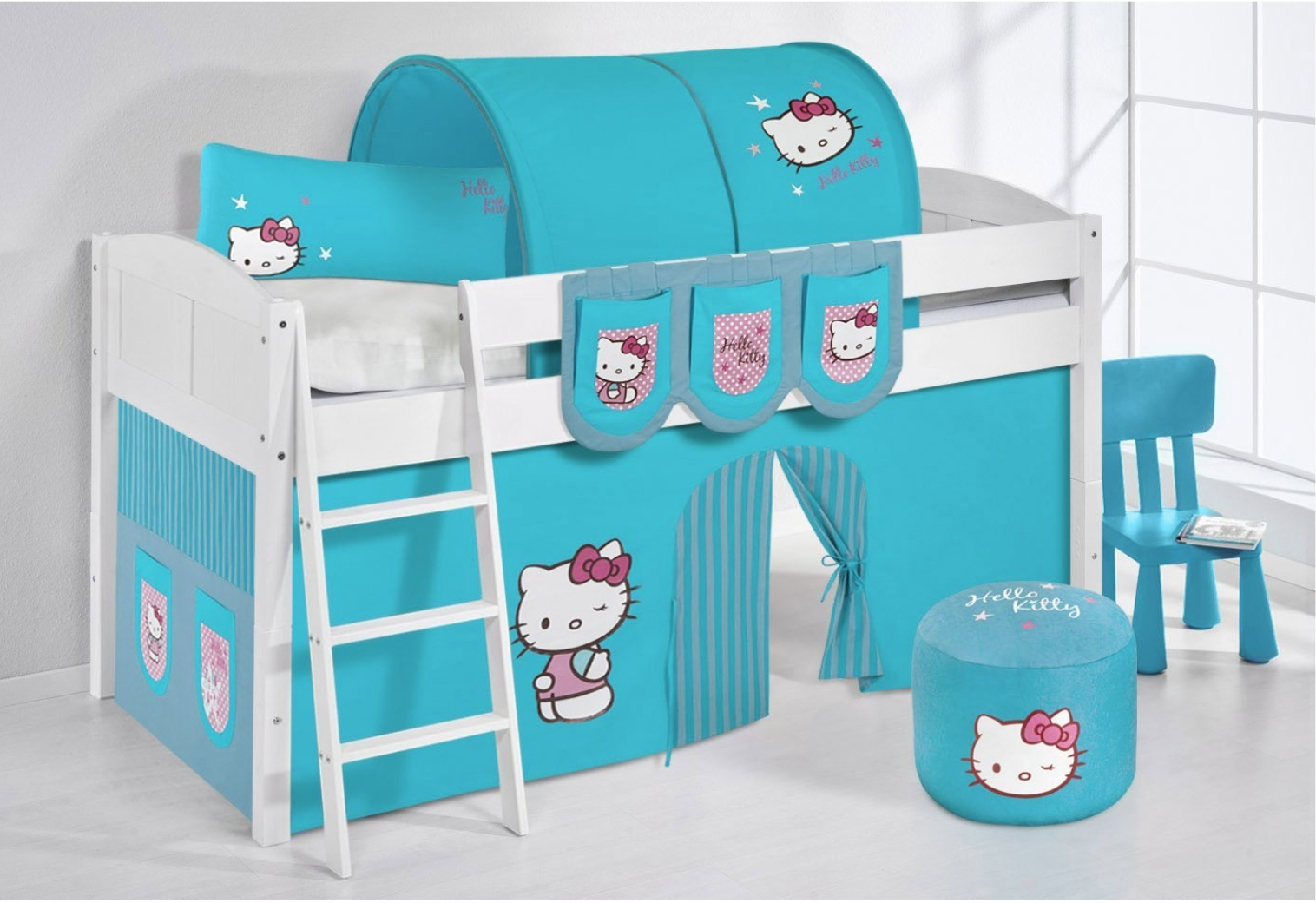 lit sur lev blanc laqu rideau hello kitty turquoise 90x200cm sommier sans sommier sans. Black Bedroom Furniture Sets. Home Design Ideas