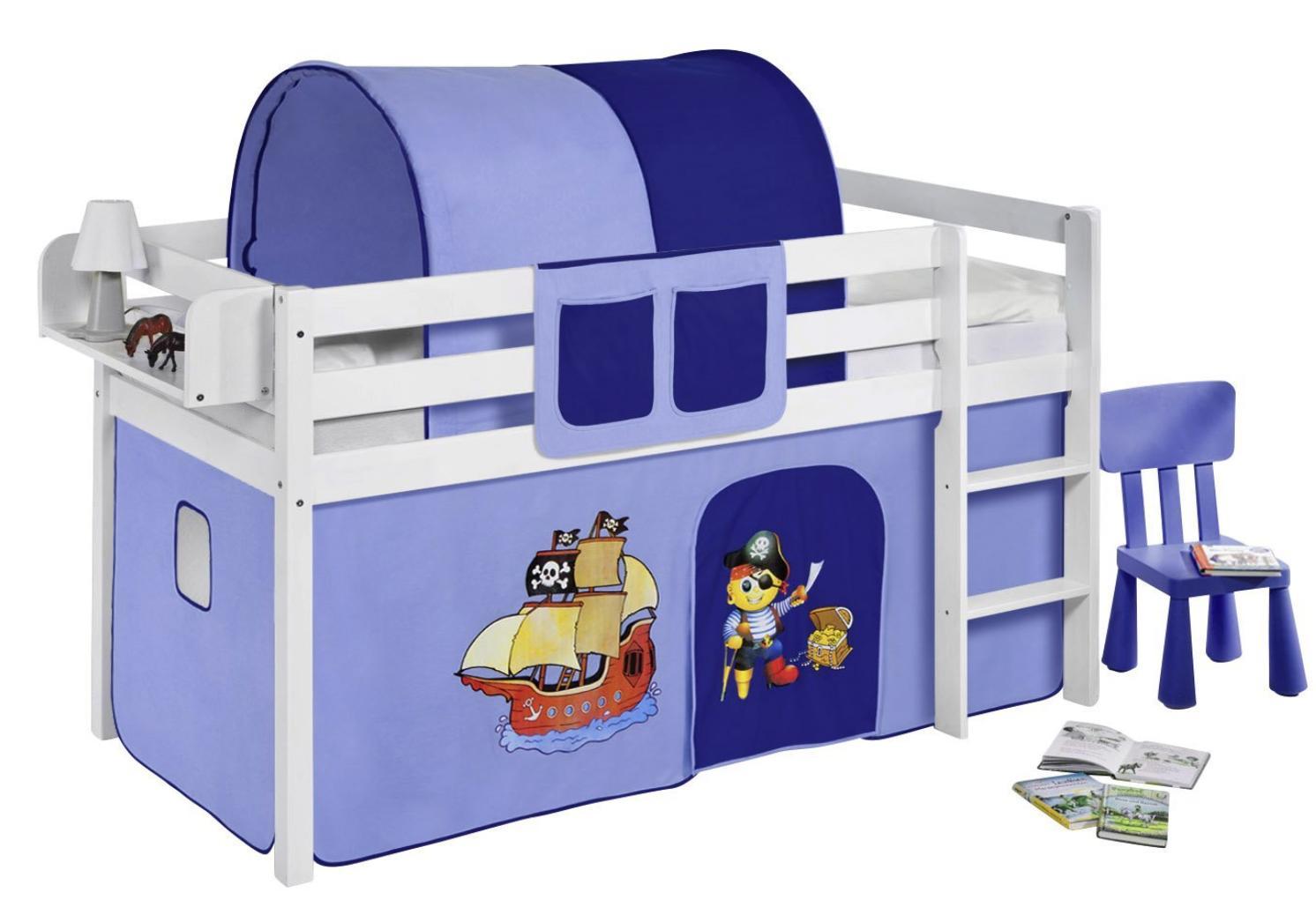 lit sur lev blanc laqu rideau pirate bleu fonc 90x190cm. Black Bedroom Furniture Sets. Home Design Ideas