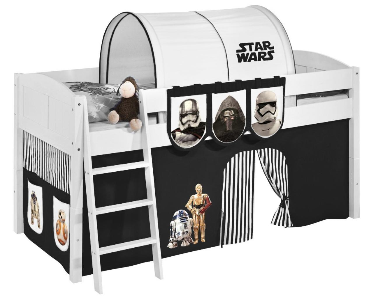 lit sur lev blanc rideau star wars noir 90x200cm sommier sans sommier sans matelas tunnel. Black Bedroom Furniture Sets. Home Design Ideas
