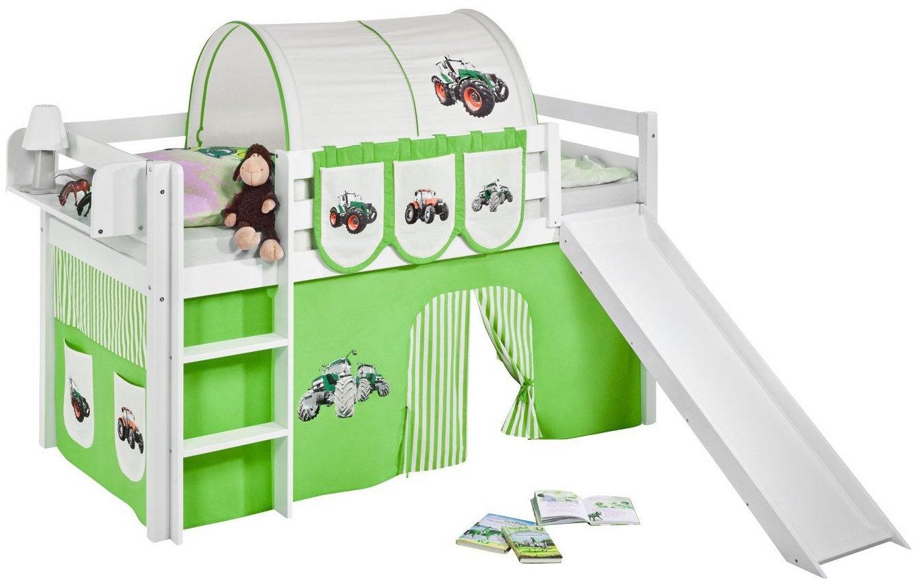 Lit sur lev blanc laqu rideau vert et toboggan vert - Rideau pour lit sureleve ...