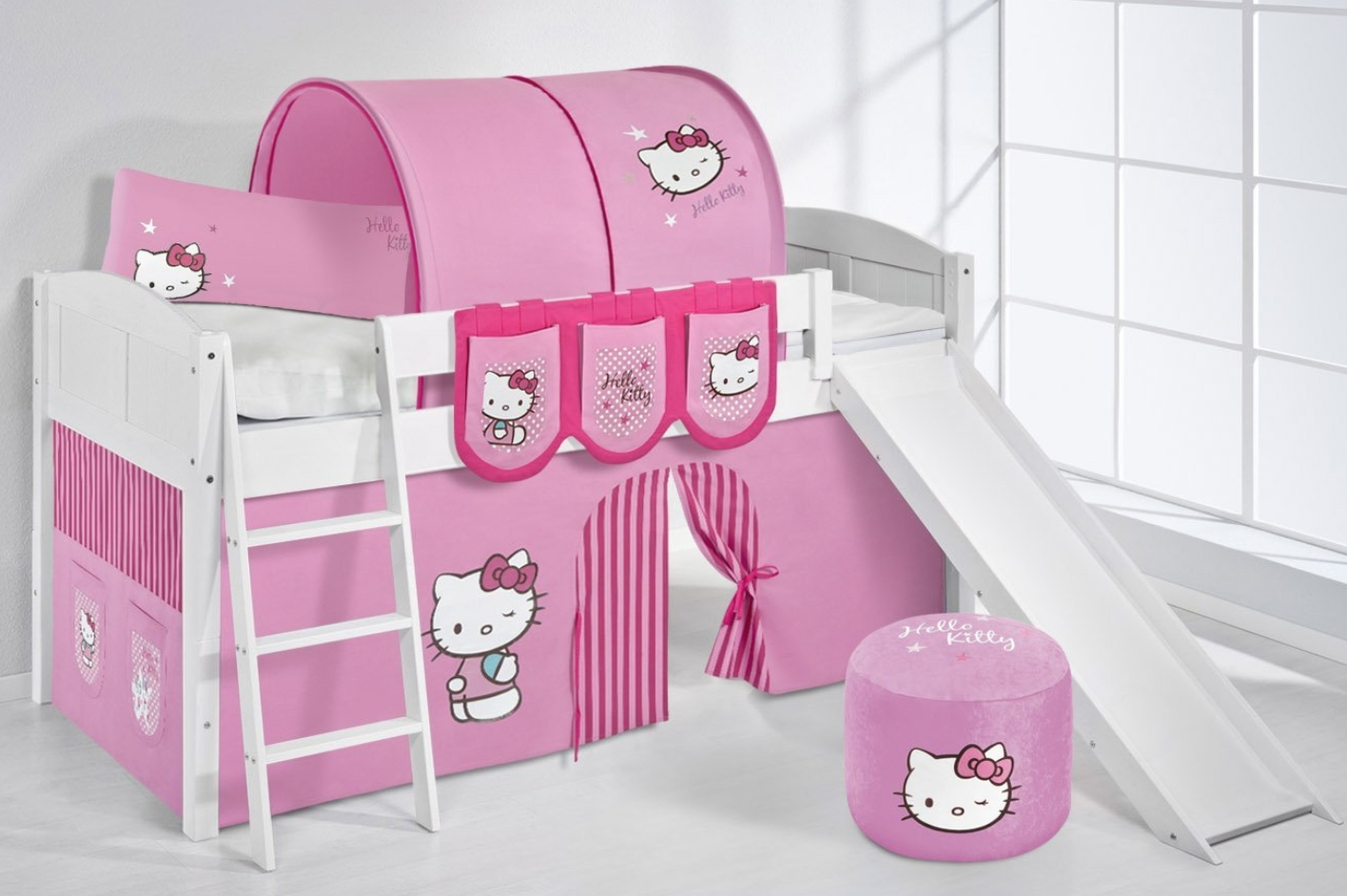 lit sur lev blanc laqu toboggan ida rideau hello kitty sommier sans sommier sans matelas. Black Bedroom Furniture Sets. Home Design Ideas