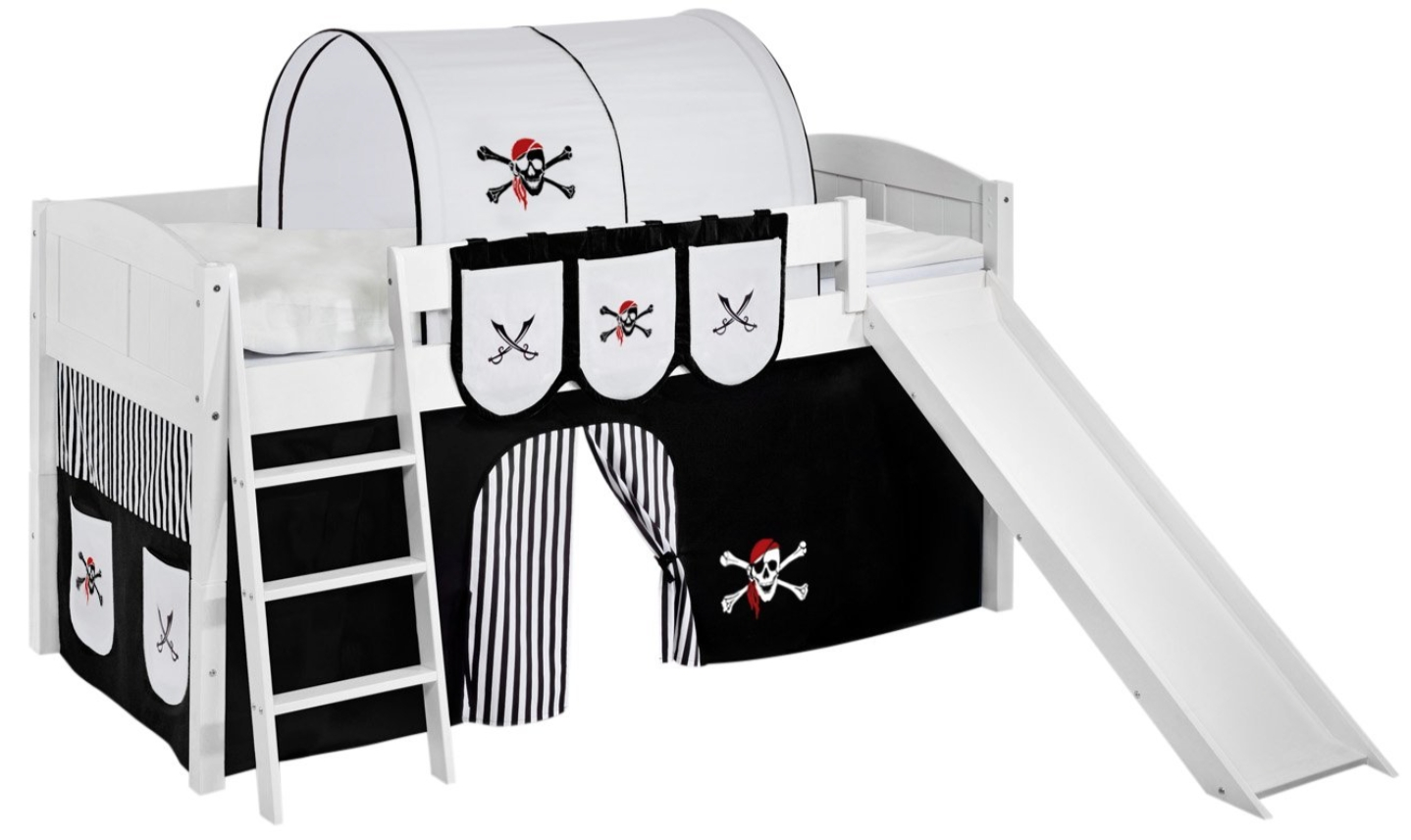 lit sur lev blanc laqu toboggan ida rideau pirate noir. Black Bedroom Furniture Sets. Home Design Ideas