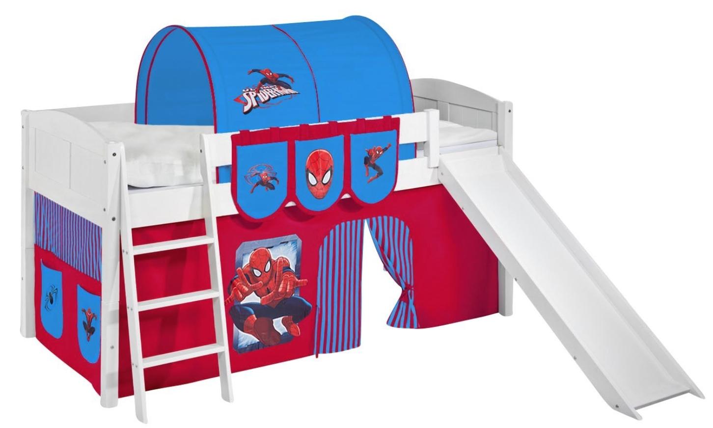 lit sur lev blanc laqu toboggan ida rideau spiderman. Black Bedroom Furniture Sets. Home Design Ideas