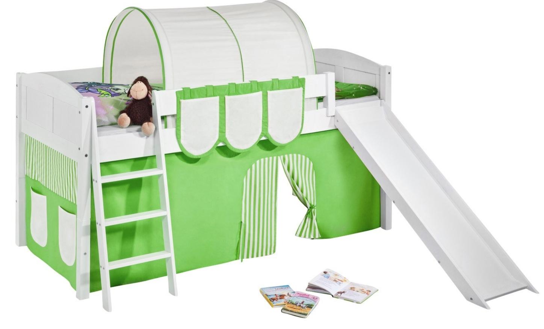 lit sur lev blanc laqu toboggan ida rideau vert sommier sans sommier sans matelas tunnel. Black Bedroom Furniture Sets. Home Design Ideas