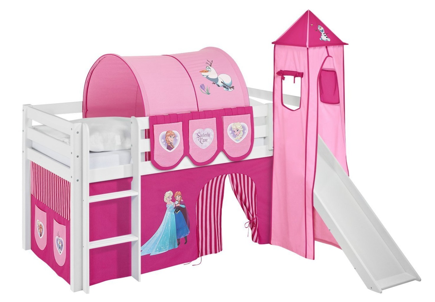 lit sur lev blanc laqu toboggan rideau et tour disney princesses 90x190cm sommier sans sommier. Black Bedroom Furniture Sets. Home Design Ideas